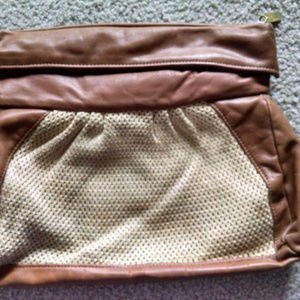 VTG STONE MOUNTAIN LEATHER & CROCHET HANDBAG PURSE